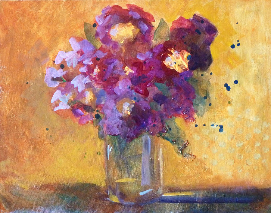 Purple Abstract Painting - Purple Abstract by Nancy Merkle