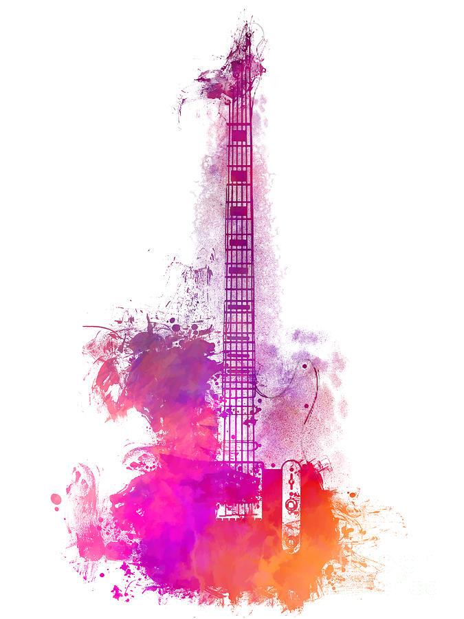 Guitar Digital Art - Purple Acoustic Guitar Musical Instrument by Justyna Jaszke JBJart