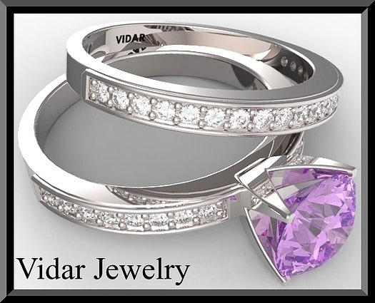Gemstone Jewelry - Purple Amethyst And Diamond 14k Wedding Ring And Engagement Ring Set by Roi Avidar