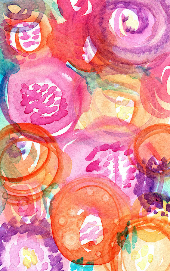 Flowers Painting - Purple and Orange Flowers by Linda Woods