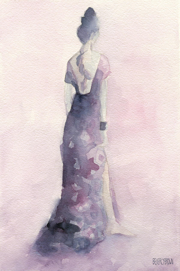 Fashion Painting - Purple And Pink Evening Dress Watecolor Fashion Illustration by Beverly Brown