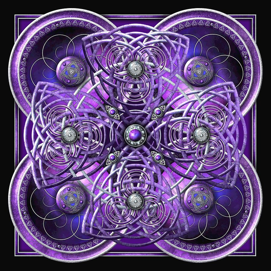 Celtic Photograph - Purple And Silver Celtic Cross by Ricky Barnes