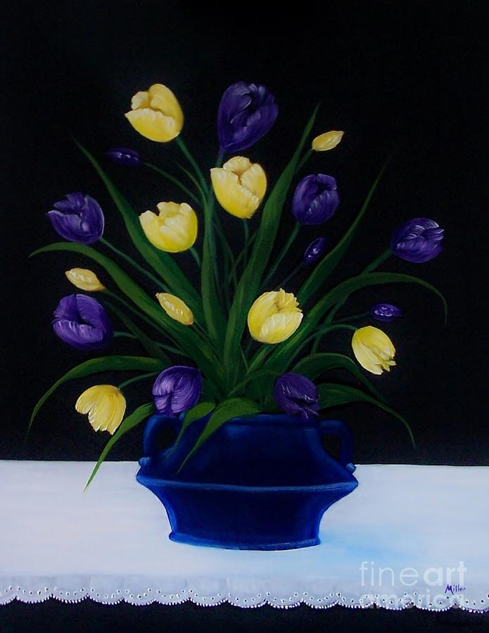 Tulips Painting - Purple And Yellow Tulips by Peggy Miller