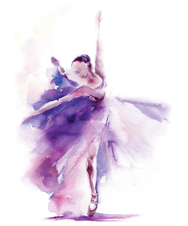 Watercolor Painting - Purple Ballerina by Sophia Rodionov