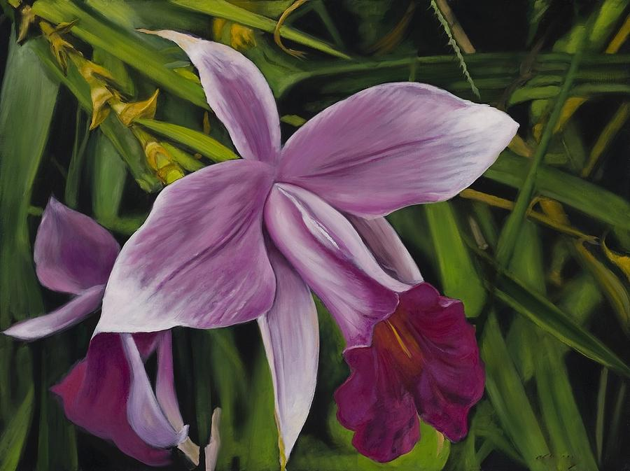 Purple Bamboo Orchid Painting By Victor Blakey