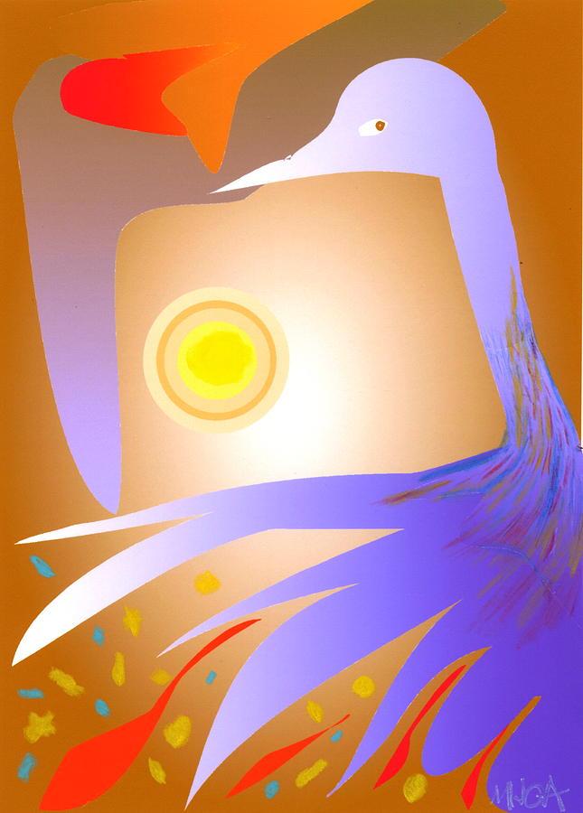 Birds Digital Art - Purple Bird by Mary Armstrong
