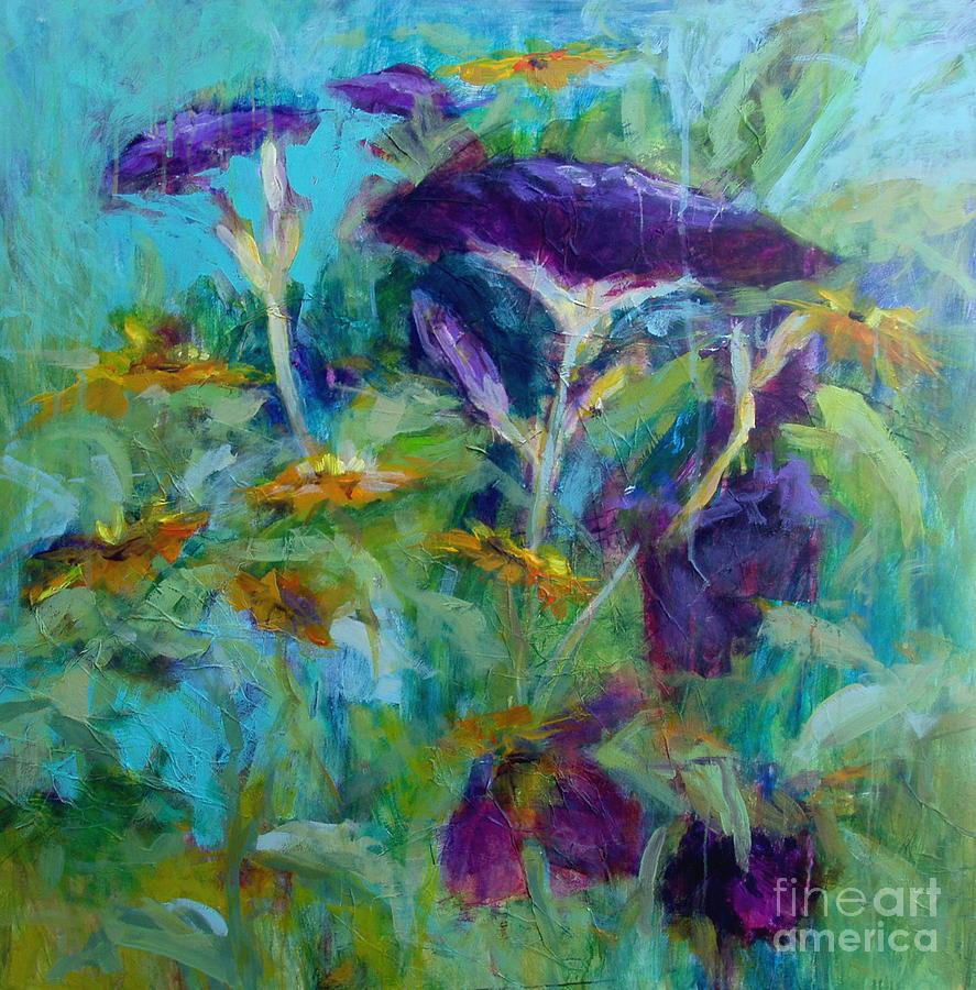 Flowers Painting - Purple Blooms by Virginia Dauth