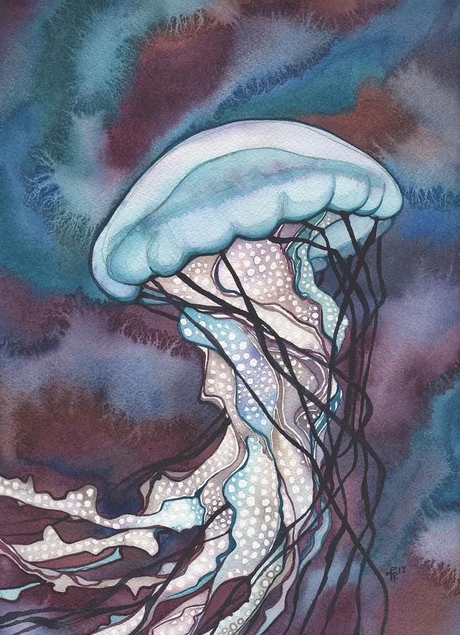 Marine Painting - Purple Bold Jellyfish by Tamara Phillips