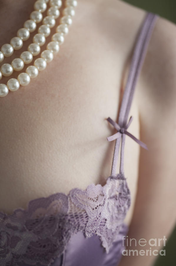 Woman Photograph - Purple Bra And Pearl Necklace by Lee Avison