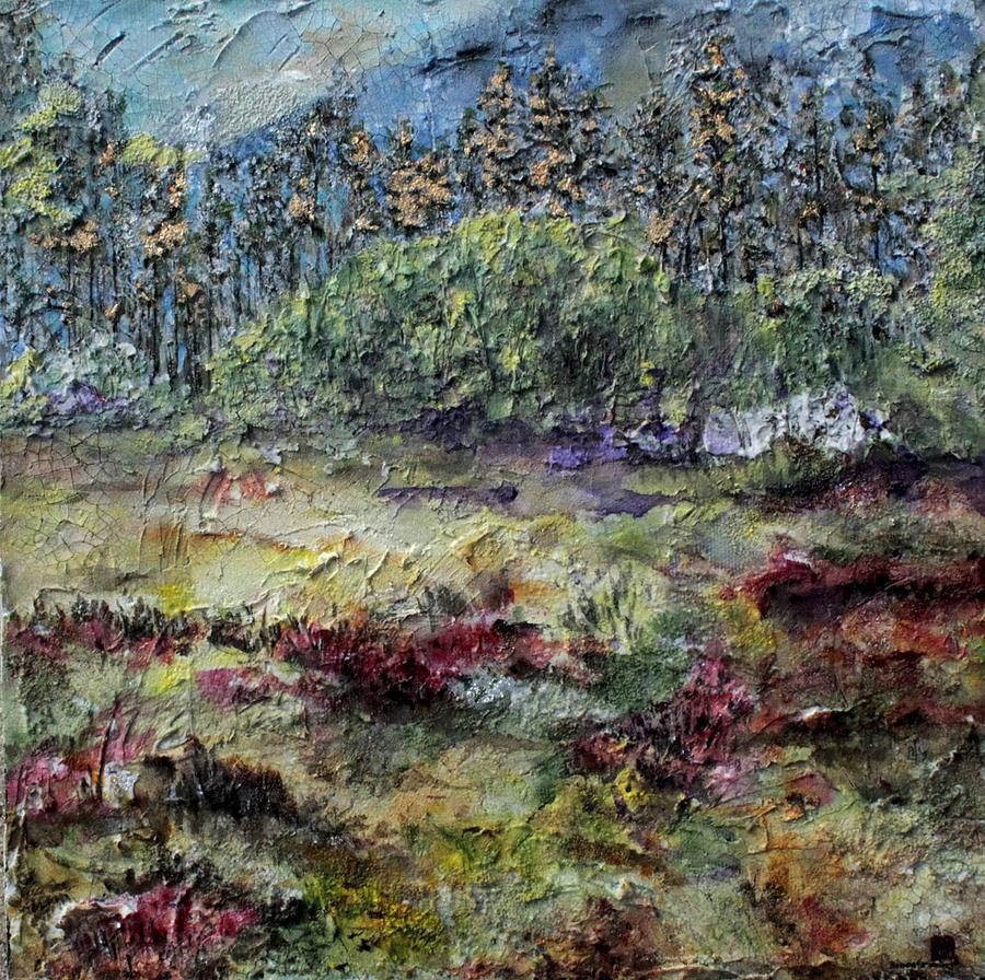 Mountains Painting - Purple  by Brenda Berdnik