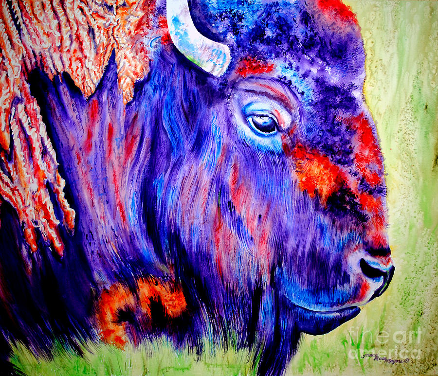 Bison Painting - Purple Buffalo by Tracy Rose Moyers