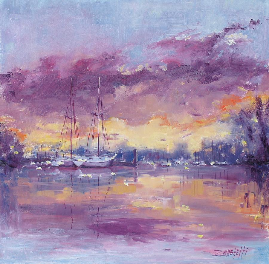 Seascape Painting - Purple Clouds by Laura Lee Zanghetti
