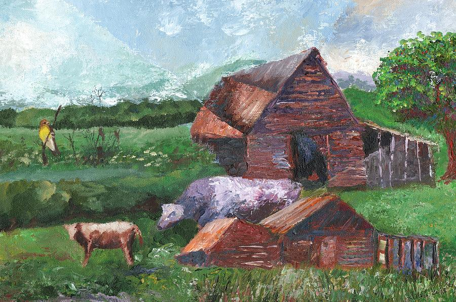 Surrealist Painting - Purple Cow And Barn by William Killen