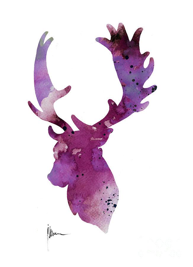 purple deer head silhouette watercolor artwork painting by mule deer skull vector Deer Head Vector
