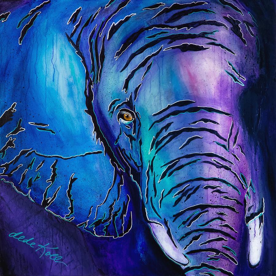 Acrylic Painting - Purple Elephant by Dede Koll
