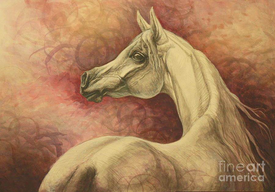 Horse Painting - Purple Emotion by Silvana Gabudean