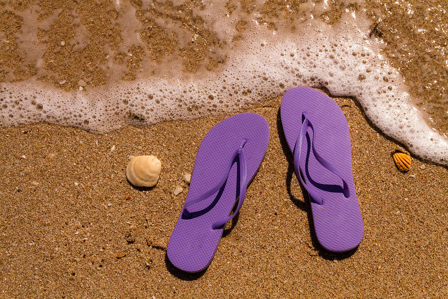 92faabfbabe6 Purple Flip Flops On The Beach Photograph by Teri Virbickis