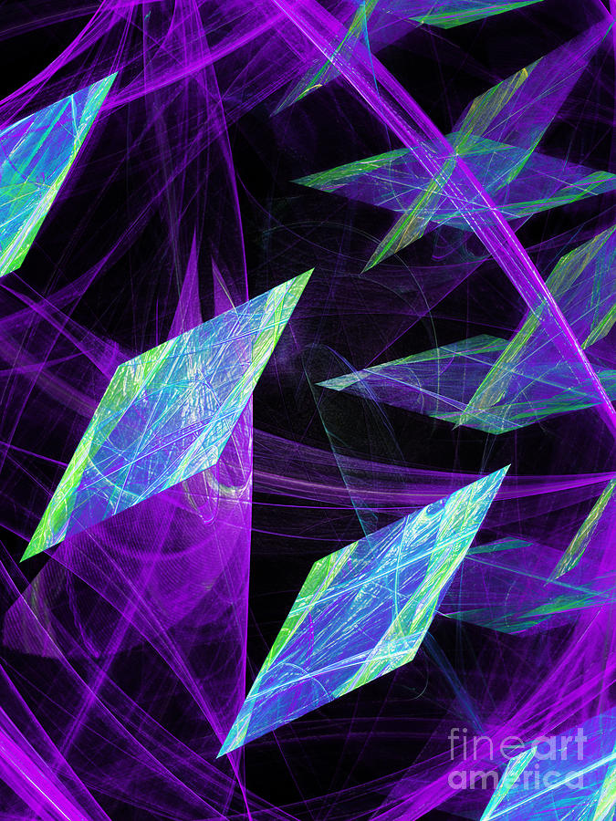 Abstract Digital Art - Purple Floating Diamonds by Andee Design