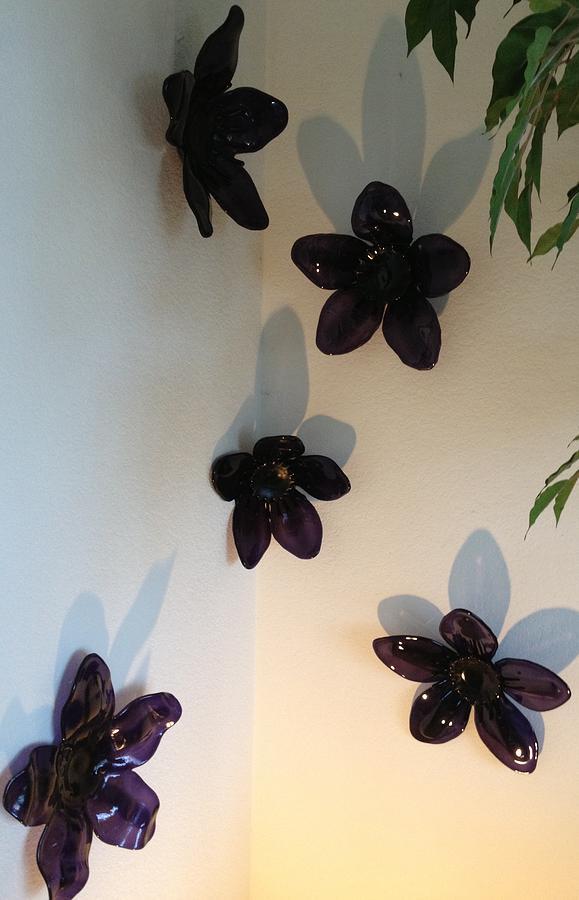 Flowers Glass Art - Purple Flowers by Angela DeAnda