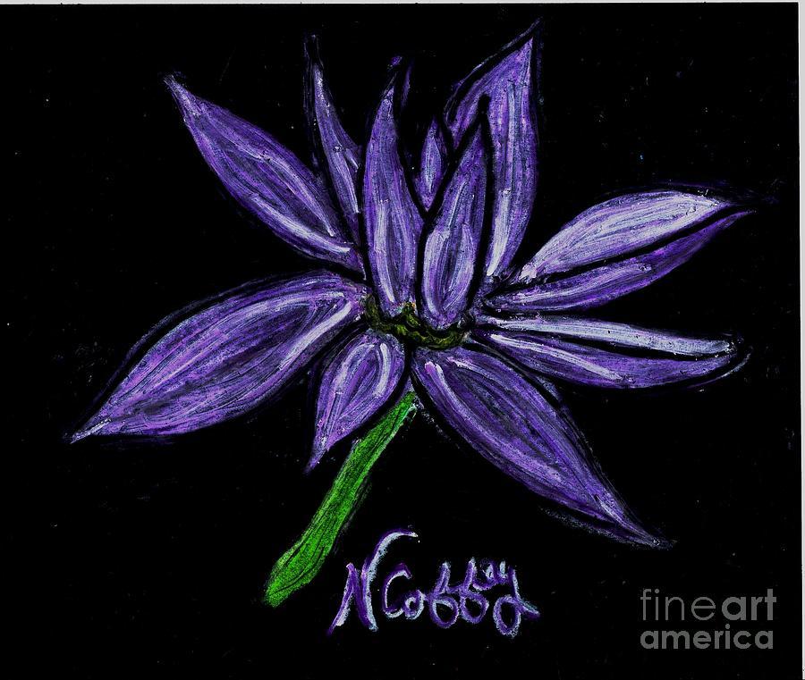 Purple Flowers Pastel by Neil Stuart Coffey