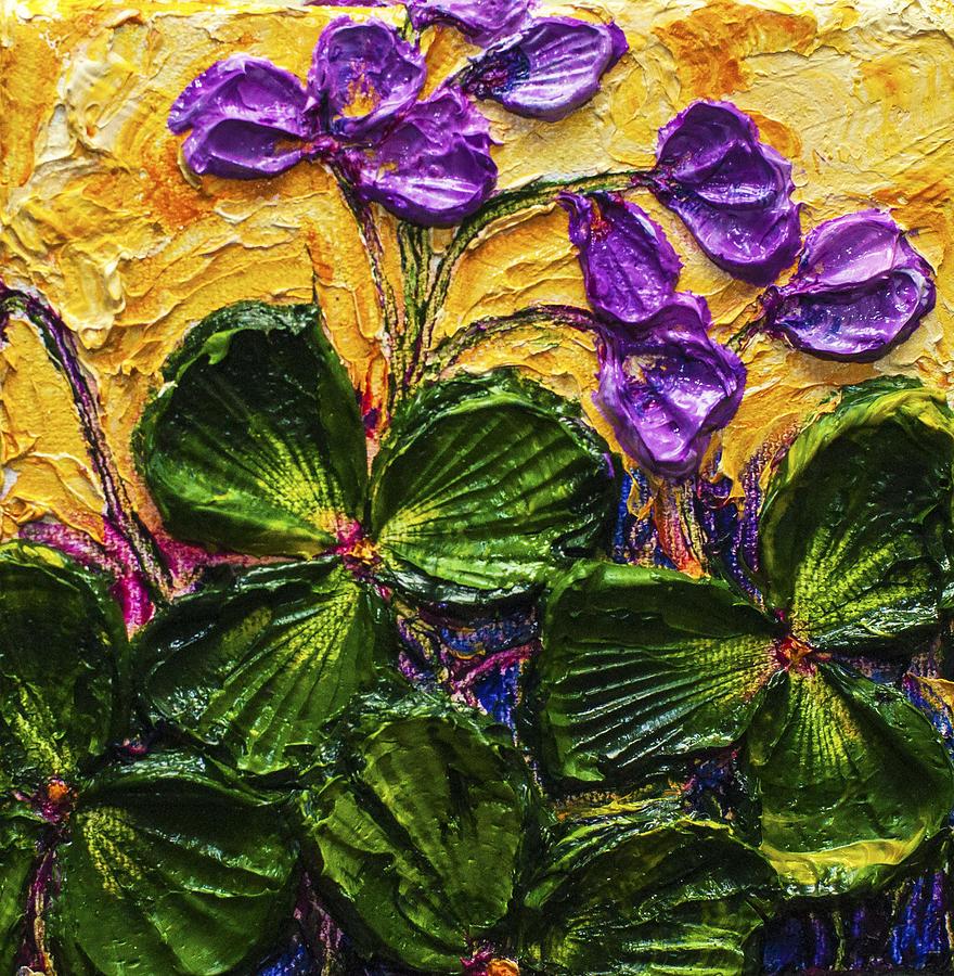Shamrock Art Prints. Flower Painting Print Painting - Purple Flowers Shamrocks by Paris Wyatt Llanso