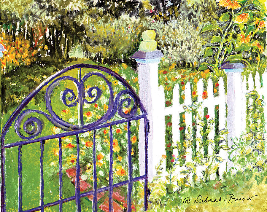 Garden Painting - Purple Garden Gate by Deborah Burow