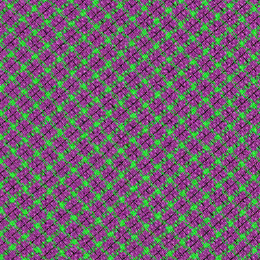 Purple Green And Black Diagonal Plaid Fabric Background ...