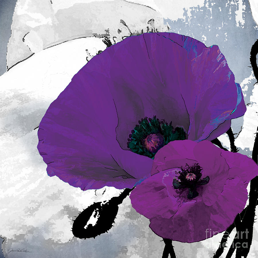 Floral Painting - Purple Grey Poppy A by Grace Pullen