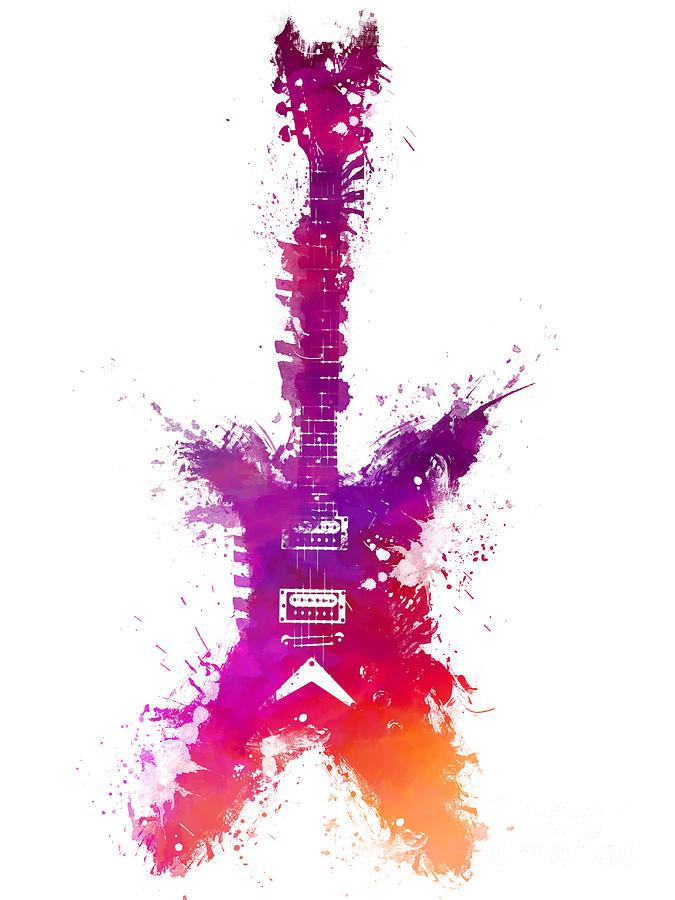 Guitar Digital Art - Purple Guitar Musical Instrument by Justyna Jaszke JBJart
