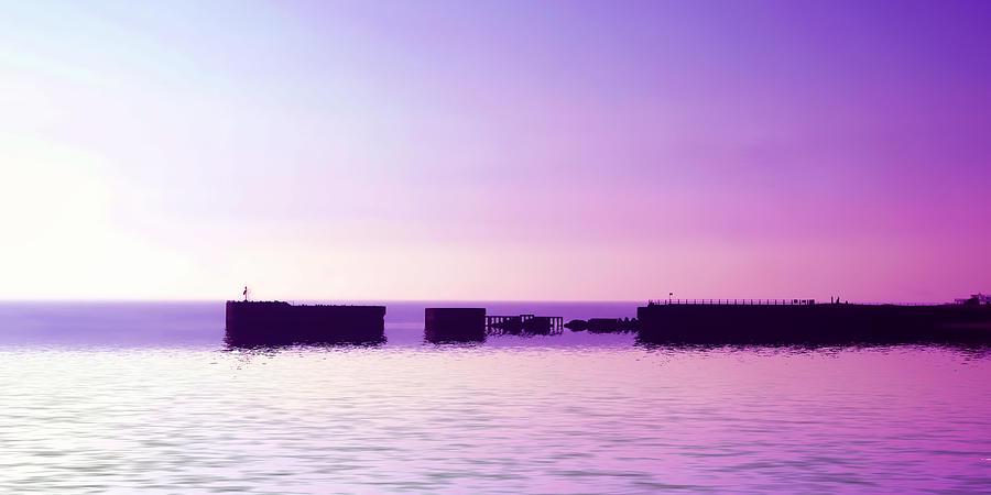 Harbor Digital Art - Purple Harbor by Sharon Lisa Clarke