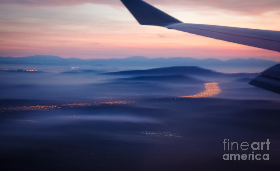 Aerial Photograph - Purple Haze - Atmospheric View Of Early Morning Mist by David Hill