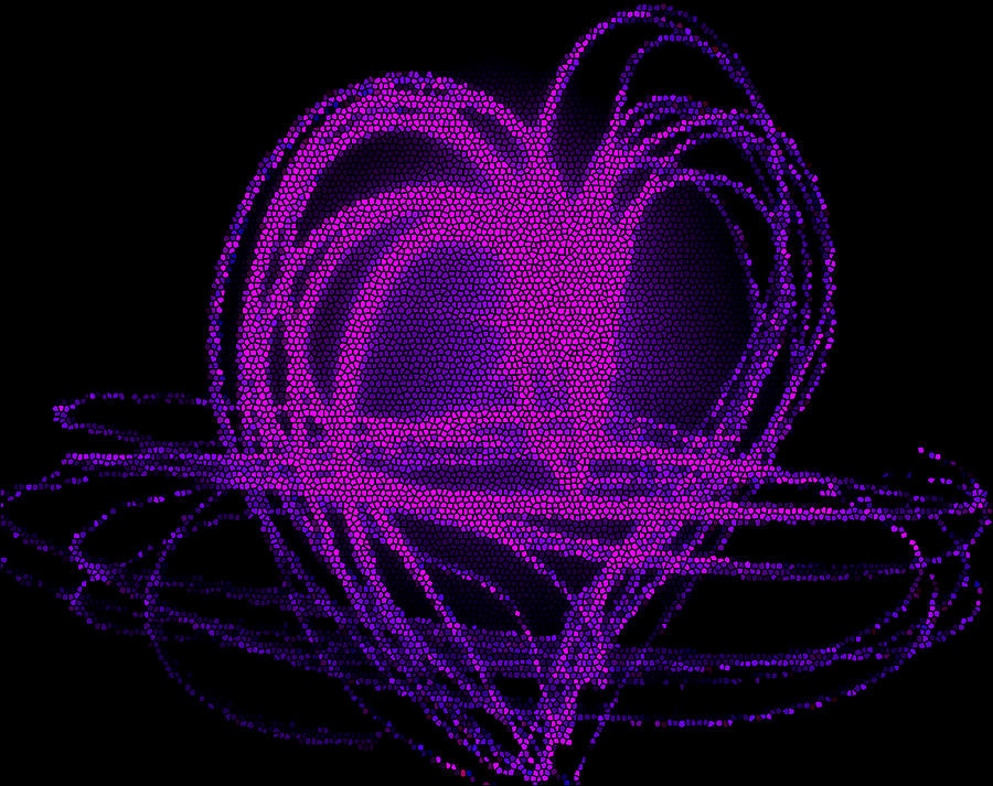 Mosaic Digital Art - Purple Heart by Aya Murrells