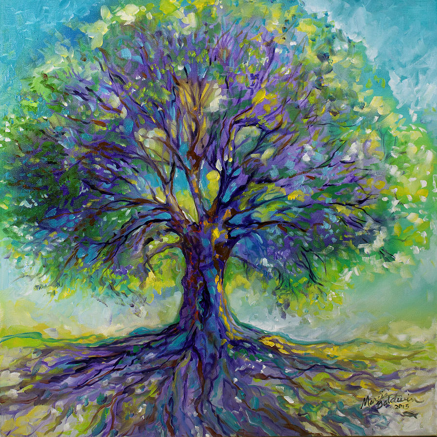 Purple Heart Tree Of Life Painting by Marcia Baldwin