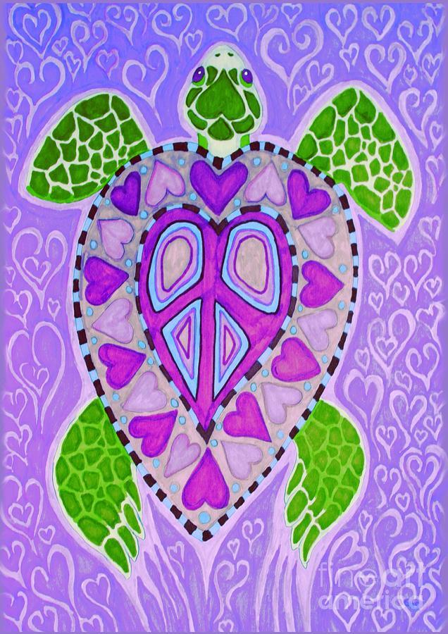 Purple Heart Turtle Drawing