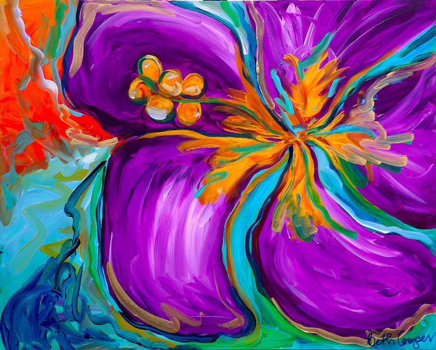 Purple Painting - Purple Hibiscus by Beth Cooper