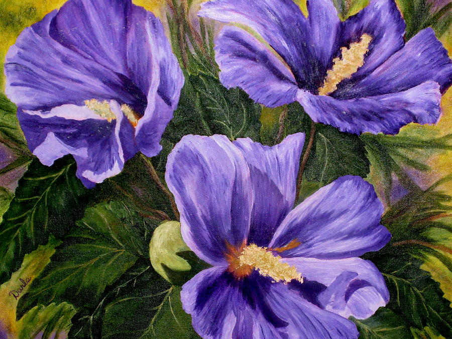 Purple Hibiscus Painting By Darla Brock