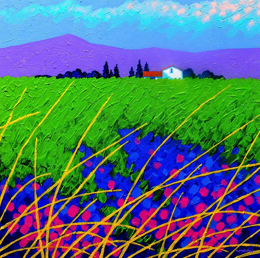 Cottage Painting - Purple Hills by John  Nolan