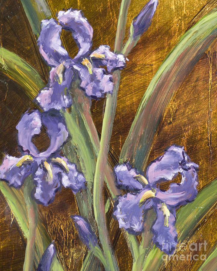 Purple Iris II with Gold Leaf by Vic  Mastis