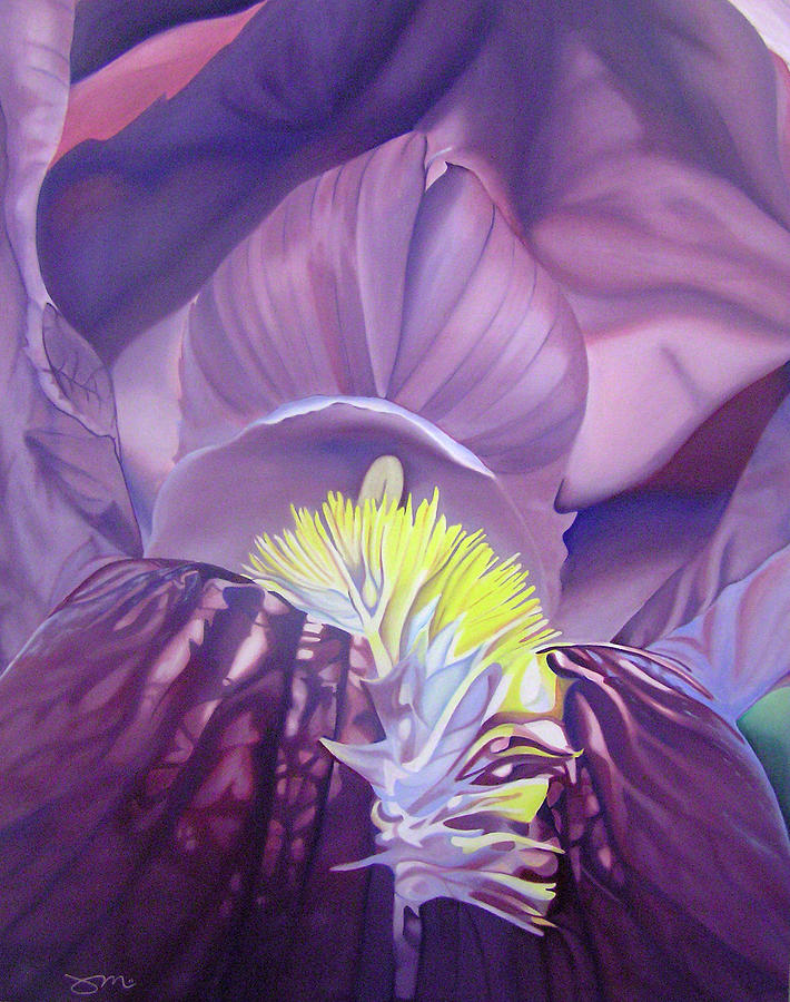 Flower Painting - Georgia Okeeffe Style-purple Iris by Joshua Morton