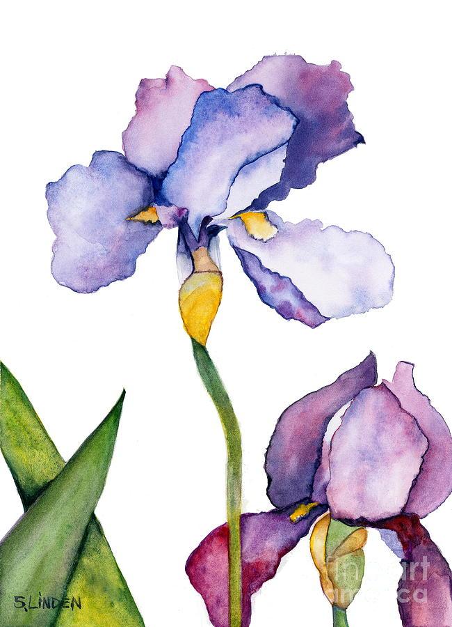 Botanical Flowers Painting - Purple Iris Leaning Toward The Sun by Sandy Linden