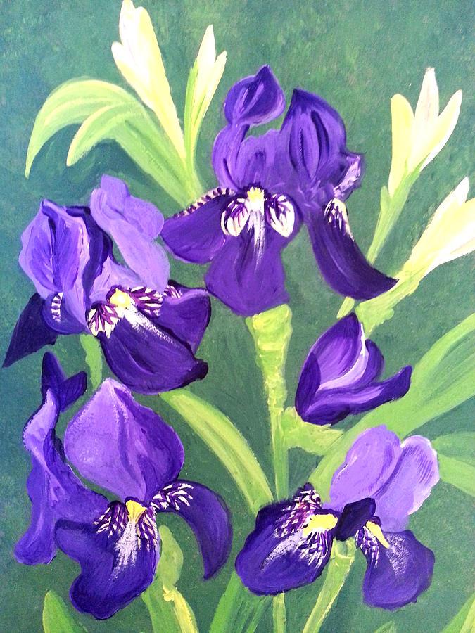 Purple Iris Painting by Nikki Dalton