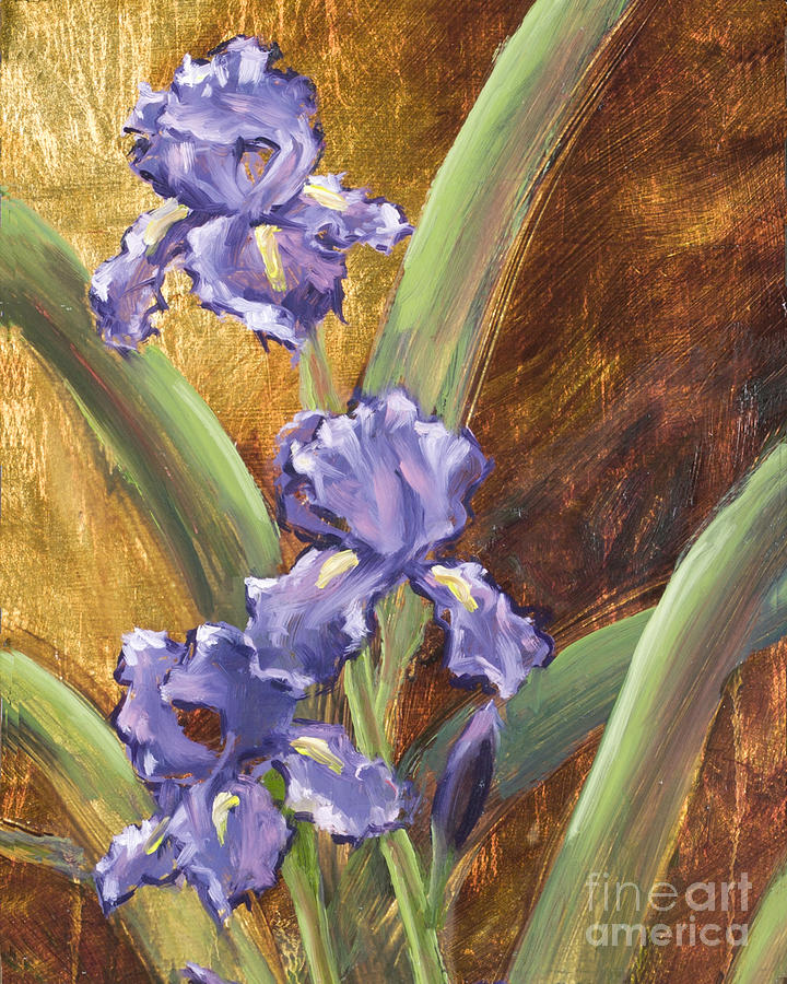 Purple Iris with Gold Leaf by Vic Mastis by Vic  Mastis