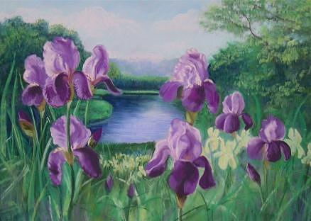 Landscape Pastel - Purple Irises At Catfish Corner by Sherri Anderson