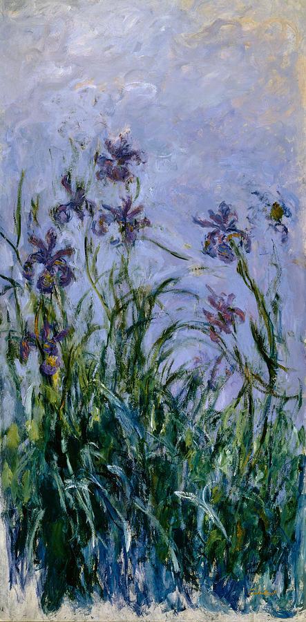 Purple Painting - Purple Irises by Claude Monet