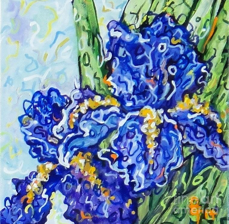 Acrylic Painting - Purple Irises by Deborah Glasgow