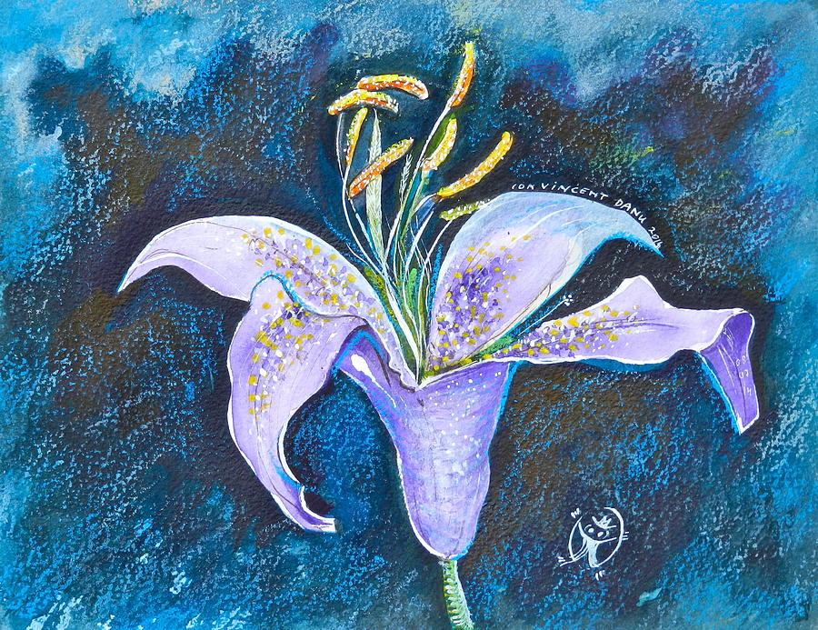 Watercolor Painting - Purple Lily by ITI Ion Vincent Danu