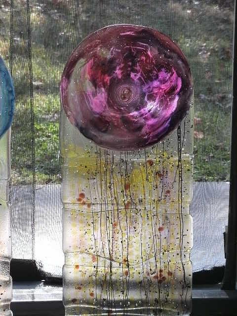 Sculpture Glass Art - Purple Medallion by James Burchett
