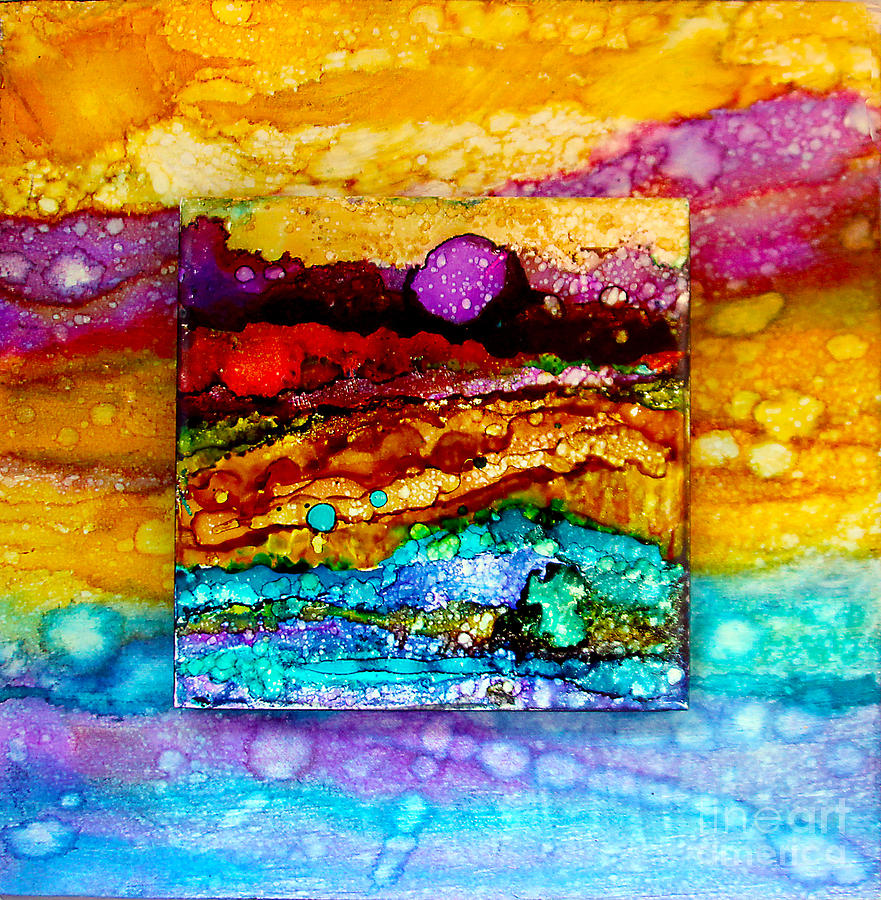 Purple Moon Double Canvas Painting By Alene Sirott Cope