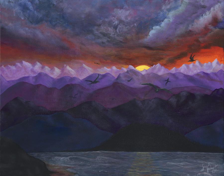 Mountains Painting - Purple mountain sunset by Sandy Jasper