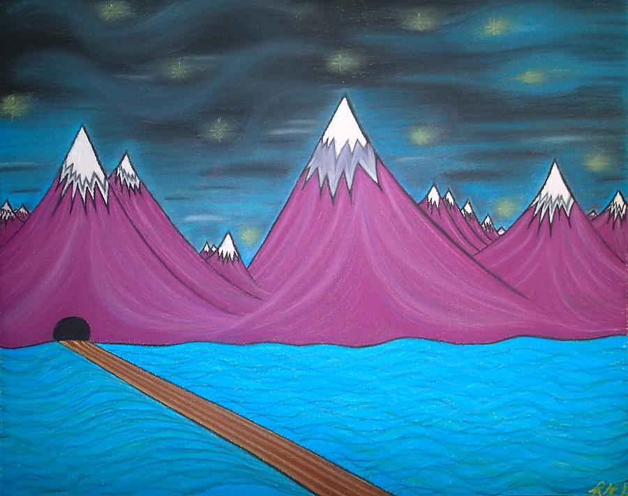Abstract Painting Pastel - Purple Mountains by Robert Nickologianis